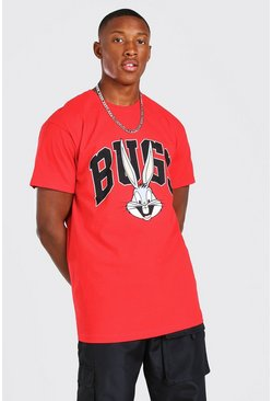 Red Oversized Varsity Bugs Bunny License T-Shirt