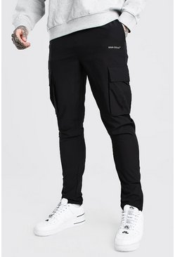 Black Tapered Cargo Jogger