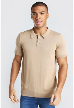 Camel Short Sleeve Knitted Polo