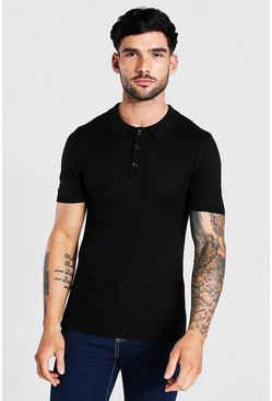 Black Short Sleeve Muscle Fit Cable Polo