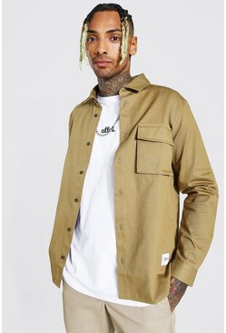 Taupe Regular Fit Cargo Pocket Shirt Jacket