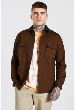 Choc brown Regular Fit Double Cargo Pocket Overshirt