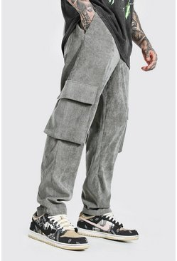 Dark grey Corduroy Straight Leg Cargo Pants