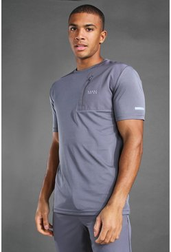 Charcoal MAN Active Contrast Panel Utility T-Shirt