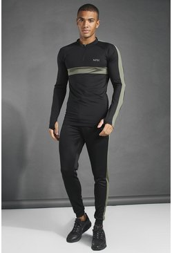 Black MAN Active 1/4 Zip Muscle Fit Tracksuit
