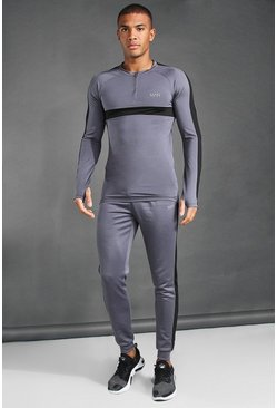 Charcoal MAN Active 1/4 Zip Muscle Fit Tracksuit