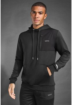 Black MAN Active Contrast Panel Utility Hoodie