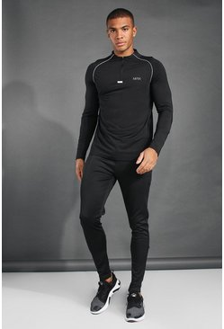 Black MAN Active 1/4 Zip Funnel Neck Tracksuit