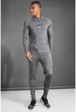 Charcoal MAN Active 1/4 Zip Funnel Neck Tracksuit