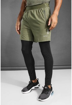 Khaki MAN Active 2-In-1 Tight Short With Split Hem