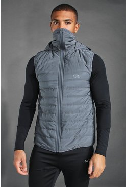 Charcoal MAN Active Snood Puffer Gilet