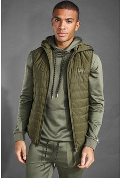 Khaki MAN Active Snood Puffer Gilet