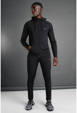 Man Active Hooded Zip Through Tracksuit, Black