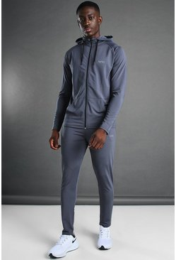 Man Active Hooded Zip Through Tracksuit, Charcoal