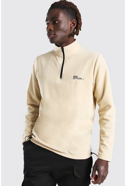 MAN Official Polar Fleece Half Zip Funnel Top, Stone