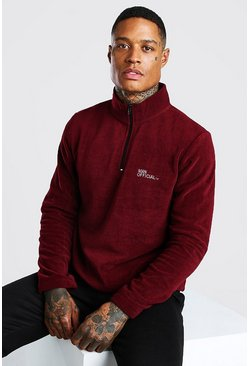MAN Official Polar Fleece Half Zip Funnel Top, Burgundy