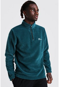 MAN Official Polar Fleece Half Zip Funnel Top, Teal