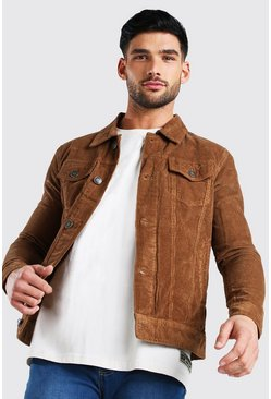 Tan Regular Fit Corduroy Jacket