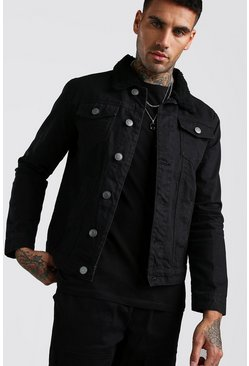 Black Regular Fit Borg Collar Cord Jacket
