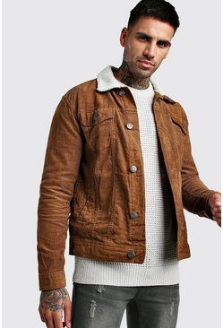 Tan Regular Fit Borg Collar Cord Jacket