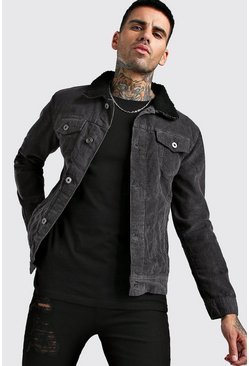 Dark grey Regular Fit Borg Collar Corduroy Jacket