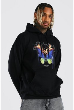 Oversized Official Butterfly Print Hoodie, Black