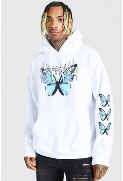 White Oversized Official Butterfly Sleeve Print Hoodie