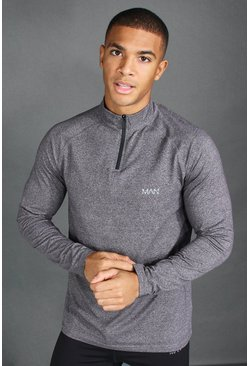 Charcoal MAN Active Funnel Neck Top