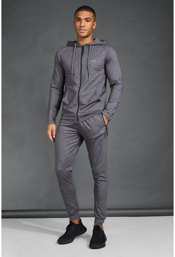 Charcoal MAN Active Skinny Fit Hooded Tracksuit