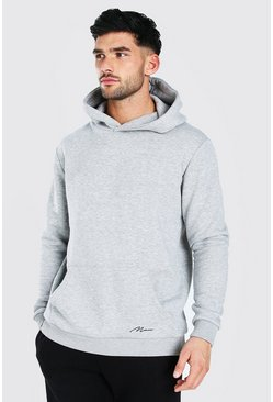 Grey marl MAN Signature Heavyweight Over The Head Hoodie