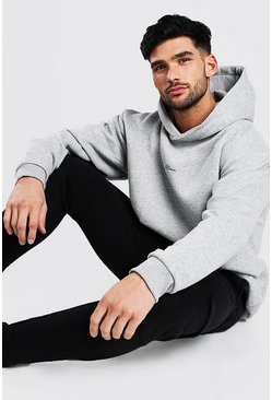 Grey marl Oversized MAN Signature Heavyweight Hoodie