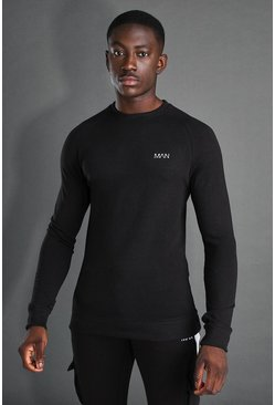 Black MAN Active Muscle Fit Raglan Sweater
