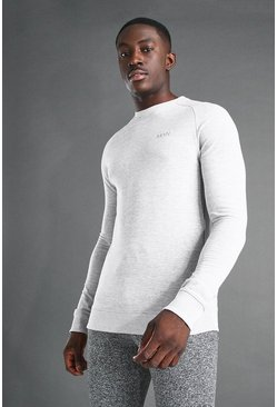 Grey marl MAN Active Muscle Fit Raglan Sweater
