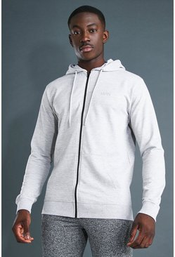 Grey marl MAN Active Regular Fit Zip Through Hoodie