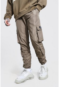 Khaki Official MAN Ripstop Ruched Detail Cargo Trouser