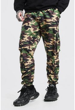 Khaki Official MAN Camo Ruched Detail Cargo Trouser