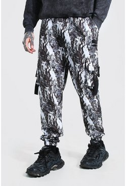 White Official MAN Shell Printed Cargo Trouser With Strap