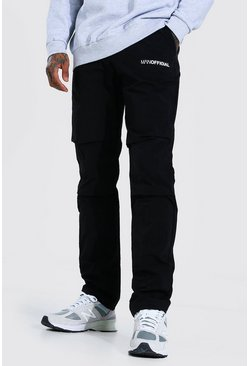 Black MAN Official Belted Crinkle Shell Cargo Trouser