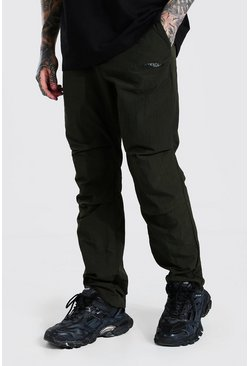 Light khaki MAN Official Belted Crinkle Cargo Trouser
