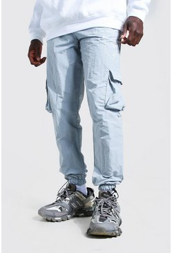 Light grey Official MAN Crinkle Face Print Cargo Trouser