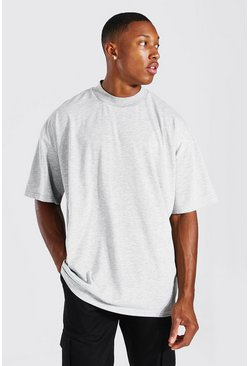 Grey marl Oversized Crew Neck T-Shirt With Extended Neck