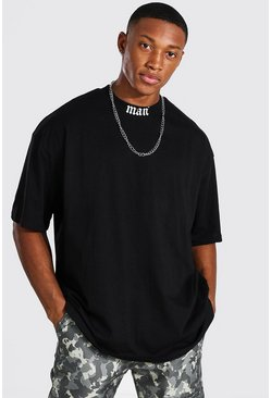 Black Oversized MAN Extended Neck Print T-Shirt