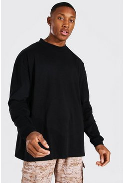 Black Oversized Long Sleeve Extended Neck T-Shirt