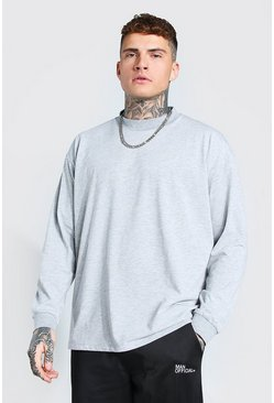 Grey marl Oversized Long Sleeve Extended Neck T-Shirt