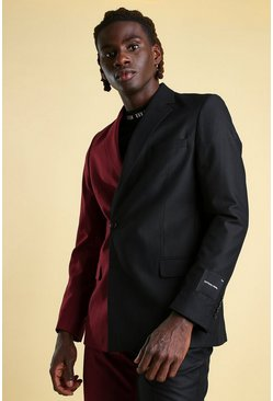 Wine MAN Skinny Plain Spliced Double Breasted Suit Jacket