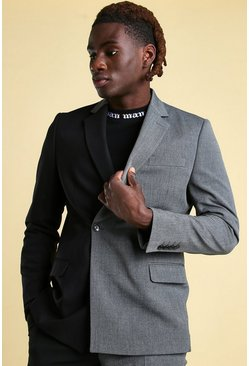 Black MAN Skinny Spliced Double Breasted Suit Jacket