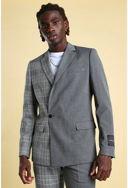 Grey MAN Skinny Check Spliced Double Breasted Suit Jacket