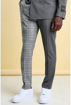 Grey MAN Skinny Check Spliced Suit Trouser