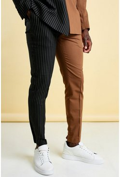 MAN Skinny Pinstripe Spliced Suit Trouser, Brown