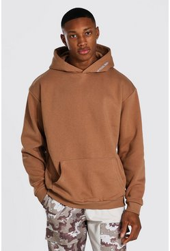 Oversized MAN Official Heavyweight Hoodie, Brown